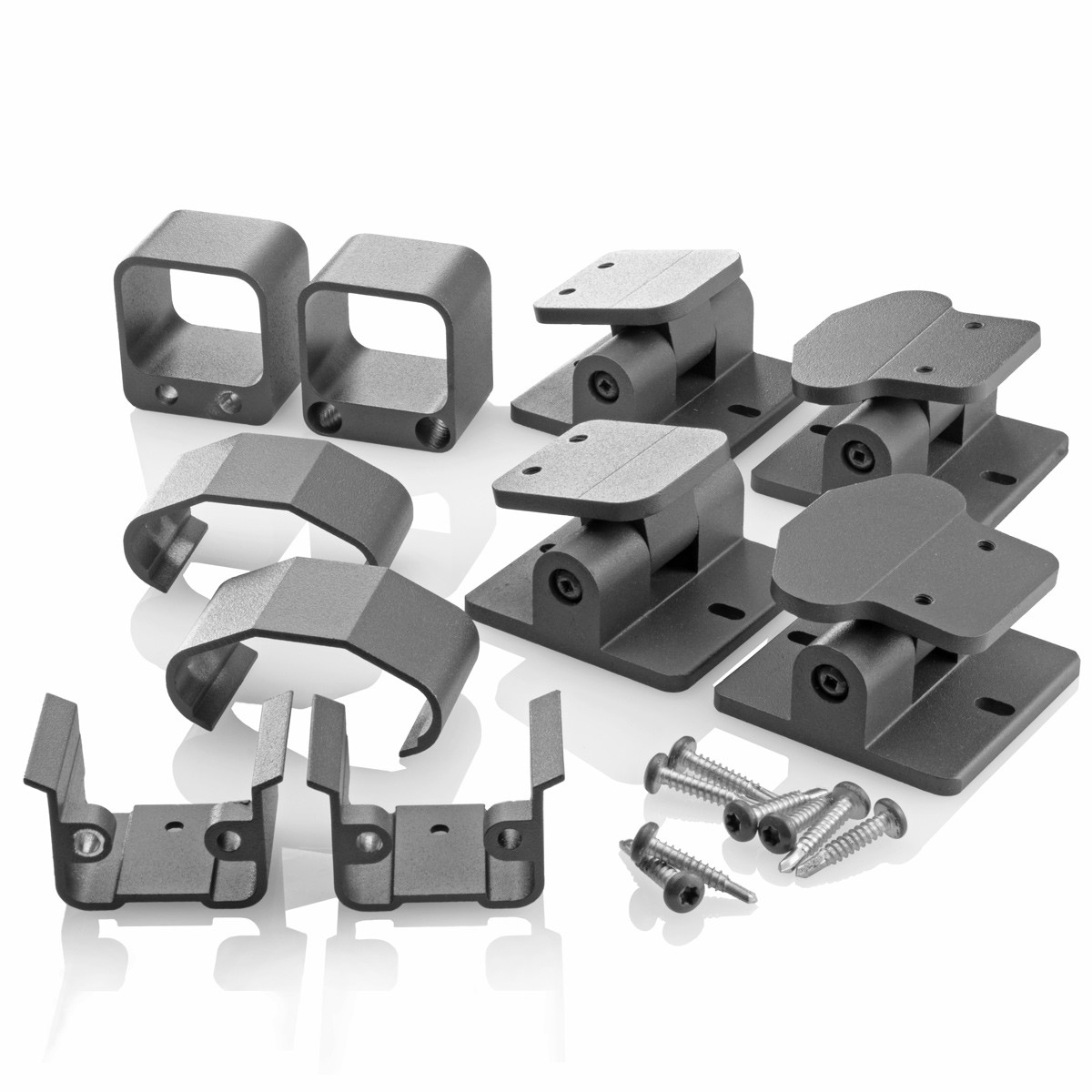 The Fixed Stair Bracket option for AFCO Pro provides a staircase angle between 32° and 36°- Textured Black