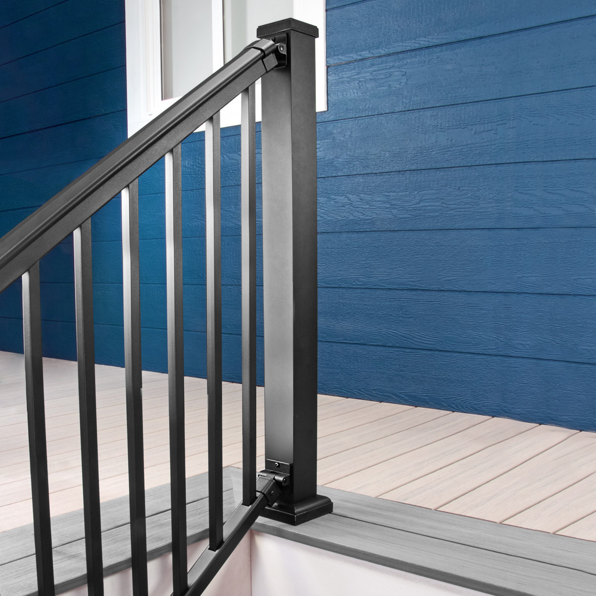 AFCO Pro Adjustable Stair Rails - Textured Black - Installed