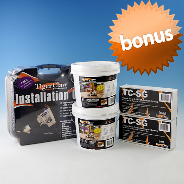 Buy (2) TCG Buckets and (2) NailScrew packs, get the TigerClaw Installation Gun FREE!