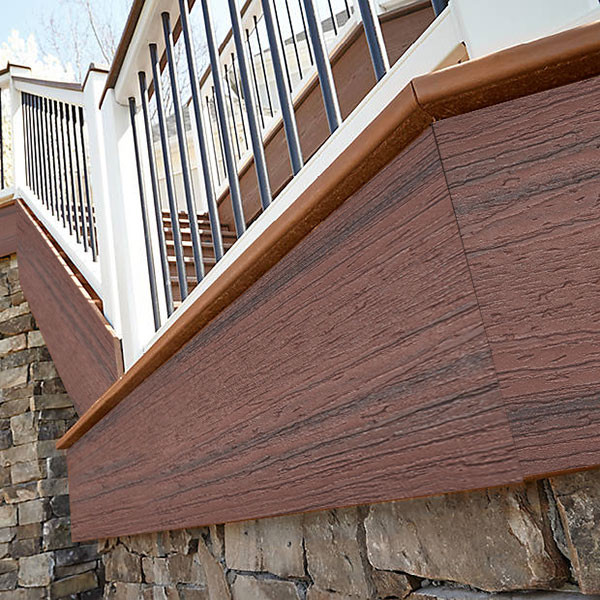 Install Trex Enhance Naturals Fascia Boards along staircases.