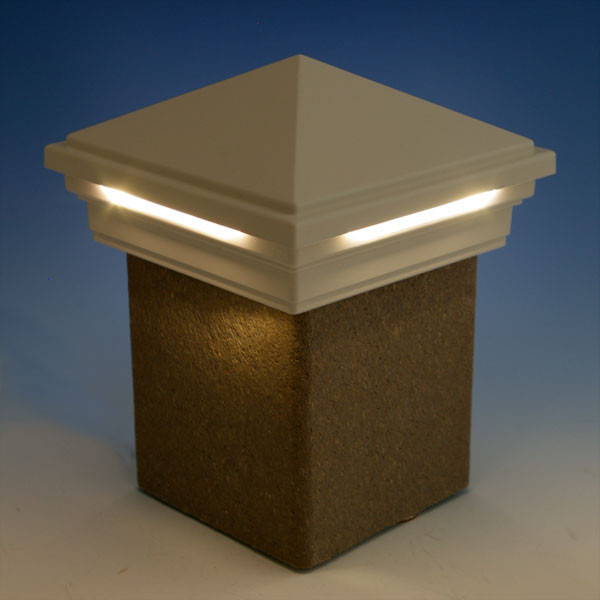 LED Pyramid Post Cap Light by Trex Deck Lighting - White