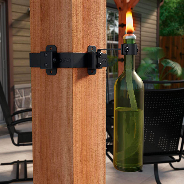 Wine Bottle Holder Hanger Accent by OZCO Ornamental Wood Ties - installed (Post band sold separately)
