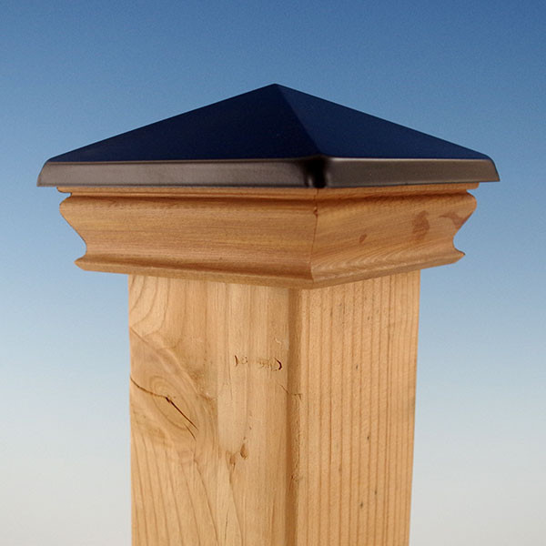 Metal Top Pyramid Post Cap with Cedar Skirt by Woodway - Black Aluminum - 3-5/8""