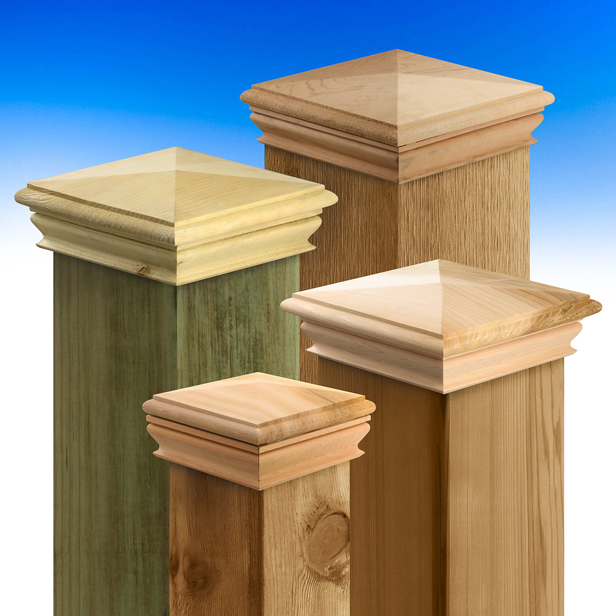 Wood Pyramid Top Post Cap by Woodway