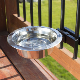 The unobtrusive Single Dog Bowl Bundle by Hold It Mate keeps your deck clear of clutter and spills all year long.
