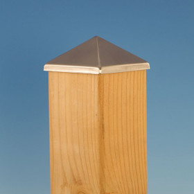 The Aluminum Post Point by Deckorators in a stainless steel finish featuring a 3-5/8 inch post cap opening size.