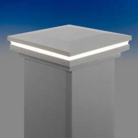 Low Voltage Ornamental Post Cap Light for Trex Post Sleeves by LMT Mercer Group - Classic White - Lit