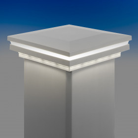 Low Voltage Combination Post Cap Light for Trex Post Sleeves by LMT Mercer Group - Classic White - Lit
