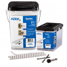 The Collated Cortex Hidden Fastening System for AZEK Trim by FastenMaster includes the Cortex plugs, installation screws, and Cortex setting tools.