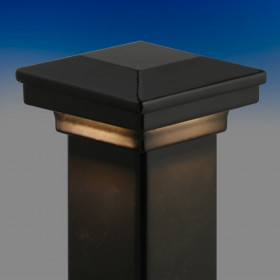 Flat Pyramid Post Cap Kit with Full Cap LED Light Module by Fortress - Gloss Black - Installed - 3-5/8 in - Light On