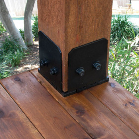 Ironwood Post Base Kit by OZCO in a 6x6 post size creates an attractive foundation for your outdoor project.