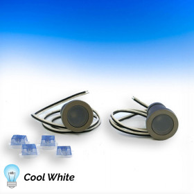 Phoenix Recessed LED Riser Lights by Aurora Deck Lighting - 2 Pack - Cool White