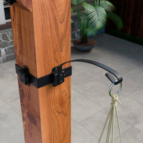 Plant Holder Hanger Accent by OZCO Ornamental Wood Ties - installed - Post Band sold separately