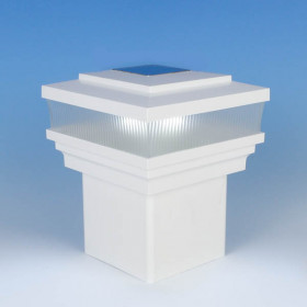 Cape May Scallop Lens Solar Post Cap Light by LMT Mercer - Lit - White
