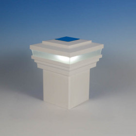 Cape May Solar Post Cap Light by LMT Mercer - Lit - White