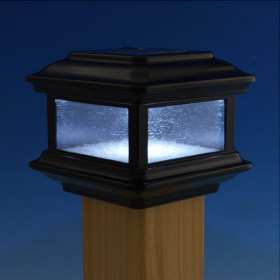 Colonial Solar Post Cap Light by Classy Caps - Black - 3-5/8 in