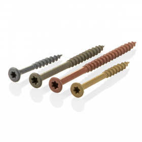 Starborn Deckfast Epoxy Coated screws are offered in the rich color-matching shades of Gray, Green, Red, and Tan to match your material.