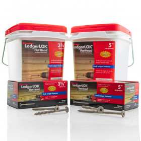The LedgerLOK Flat Head Fastener by FastenMaster is available in packs of 50 or 250 screws, as well as a 3-5/8 in or 5 in lengths to complete your project.