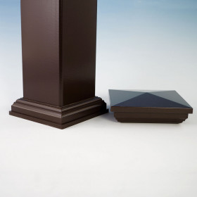 The Post Sleeve for Deckorators CXT Rail System, shown in Dark Walnut, includes a post cap and skirt.