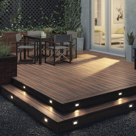 Highlight your deck perimeter for safety with the Deckorators ALX Luna Recessed Stair Light, shown in Black.