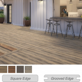 Beautiful multi-color streaking in Deckorators Voyage Deck Boards, shown in Costa, adds an organic touch to your space.