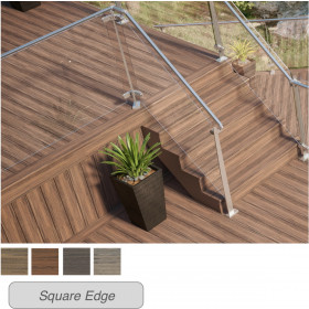 With beautiful multi-color streaking, Deckorators Voyage Fascia Boards and Voyage Decking create a look all in one.