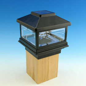 Throughout the day, protect and polish your deck railing posts with the Solar Post Cap Light by Deckorators.