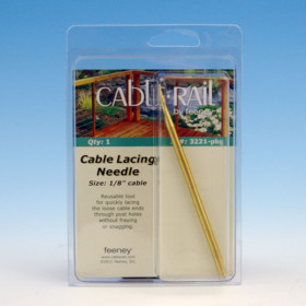 The 1/8 Inch CableRail Lacing Needle by Feeney helps guide your stainless steel cable railing through your intermediate posts for a quick installation.