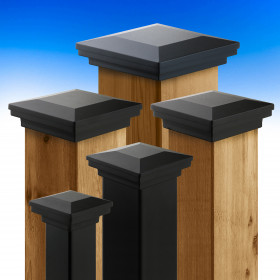 The Flat Pyramid Post Cap by Fortress Accents is available in a wide array of popular deck post sizes.