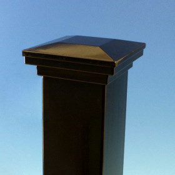 AL13 Aluminum Flat Pyramid Post Cap by Fortress - Gloss Black