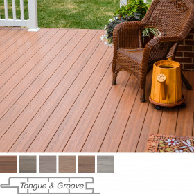With warm, variegated colors Genovations Deck Boards, shown in Chestnut, create an inviting outdoor living space.