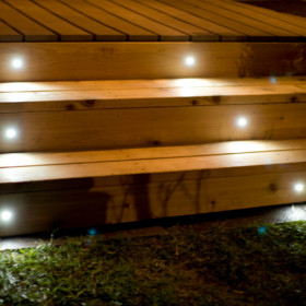 Mini Round Recessed LED Riser Light by Highpoint Deck Lighting