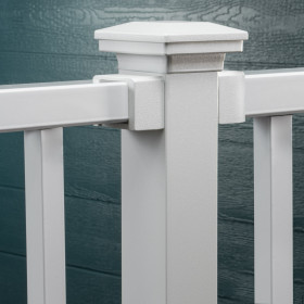 Fortress Accents Flat Pyramid Post Cap, shown in Matte White, completes the look of outdoor living space.