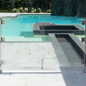 """InvisiRail Glass Deck Gate with Hardware - 72"""" Opening Double Gate"""
