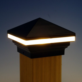 Iris LED Post Cap Light by Aurora Deck Lighting - Black, 3-5/8""