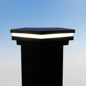 Ornamental Halo Solar Post Cap Light - 3-9/16 inch - Matte Black