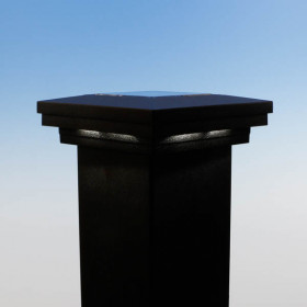 Ornamental Solar Collecting Post Cap - 3-11/16 inch - Matte Black
