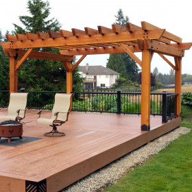 Laredo Sunset Deck Pergola Project Kit for 6x6 Posts by OZCO Ornamental Wood Ties