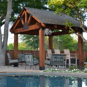OZCO Project Kit: Wood Post & Beam Pavilion with 8x8 Posts (Shown in the Laredo Sunset style)