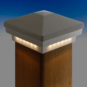 Premium Cast LED Post Cap Light by Dekor - Hammered White - Lit