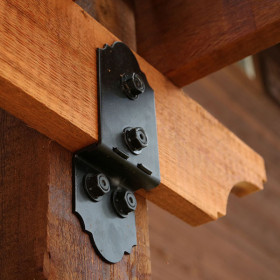 Post to Beam Bolt Bracket by OZCO Ornamental Wood Ties - Offset Installed