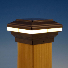 Saturn LED Post Cap Light by Aurora Deck Lighting - Bronze, 3-5/8 inch