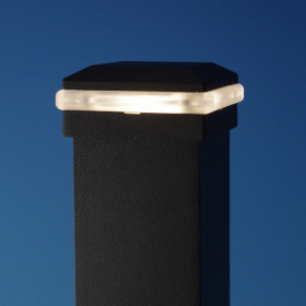 Signature LED Post Cap Light by Trex - Charcoal Black - Illuminated