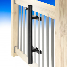 Umbrella Holder for Deck Rail - Black - Installed