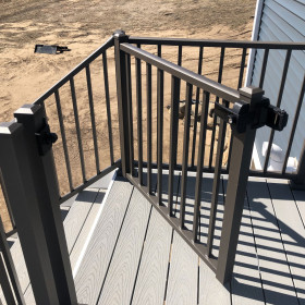 Tuscany Adjustable Gate by Westbury Aluminum Railing  - Black Fine Texture