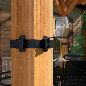 Wine Glass Holder Hanger Accent by OZCO Ornamental Wood Ties - installed - Post Band sold separately