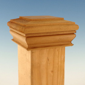 The Wood Flat Top Post Cap with Skirt by Woodway delivers a grand design to your standard wooden deck posts.