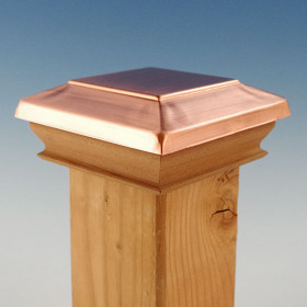 Metal Top Flat Top Post Cap with Wood Skirt by Woodway - Real Copper