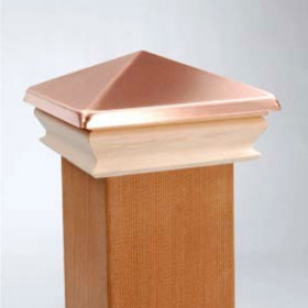 Metal Top Pyramid Post Cap with Cedar Skirt by Woodway - Real Copper