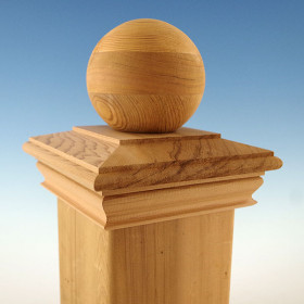 "Wood Ball Top Post Cap by Woodway - 5-5/8"" Cedar"